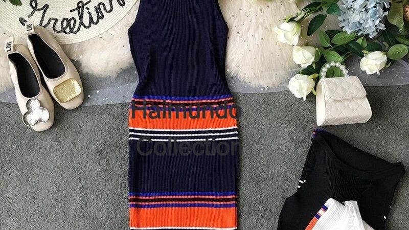 Robe tricoté sans manches élégantes / superbe robe moulante