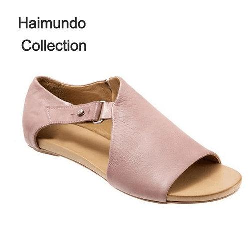 Femmes sandales boucle dames 2020 solide/  PU respirant chaussures en cuir