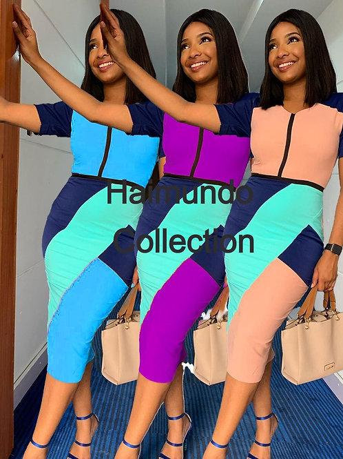 robe élégante moulante à manches courtes taille haute bloc couleur bureau dame