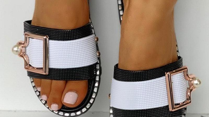 2020 loisirs femmes sandales de plage été dames tongs plat diamant chaussures