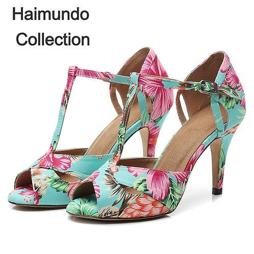 chaussures de danse latine Satin soie chaussures de danse multicolore