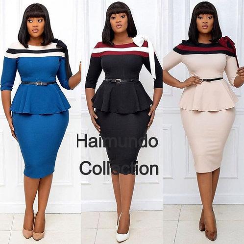 Robes africaines pour femmes 2020 automne couleur assortie robe au genou
