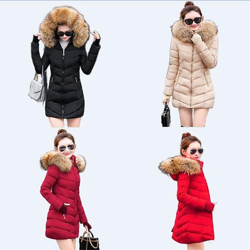 Longue veste femme manteau chaud veste d'hiver à capuche avec col en fourrure