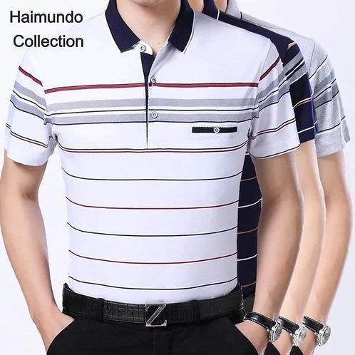 Polo style formel homme tricot coton imprimé/ Mode respirant à manches courtes