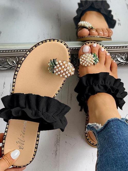 Femmes pantoufles ananas/ Chaussures décontractées plage 2020