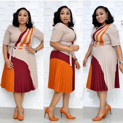 2019 Robes d'affaires en col V demi manches à ligne, robe plisée pour femme