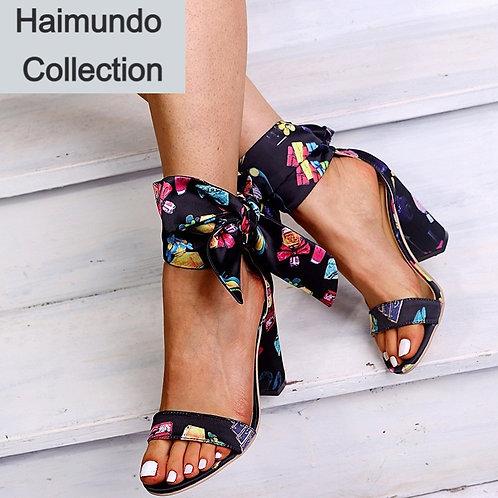2020 femmes sandales d'été talon carré haut bout ouvert en cuir  chaussures