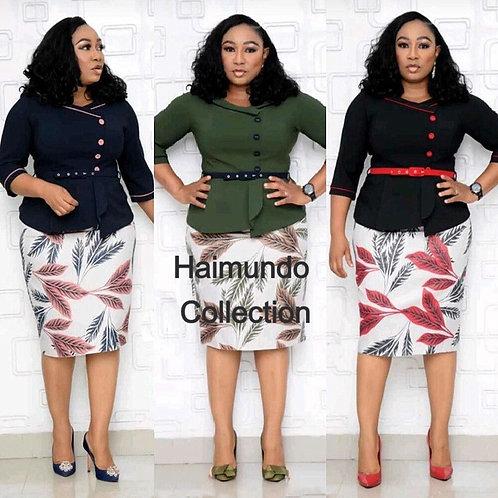 2 Pièces ensemble robe africaine pour femmes ceinture robes à bouton unique