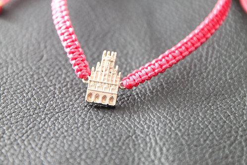 Münster-Armband (Motiv Rathaus-925er Sterling-Silber) Band in pink