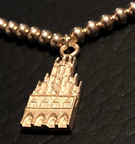 Münster-Armband aus 925er Sterling-Silber vergoldelt (Motiv Rathaus/Kugelkette)
