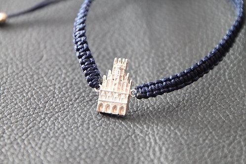 Münster-Armband (Motiv Rathaus-925er Sterling-Silber) Band in blau
