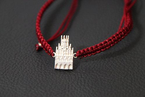 Münster-Armband (Motiv Rathaus-925er Sterling-Silber) Band in bordeaux