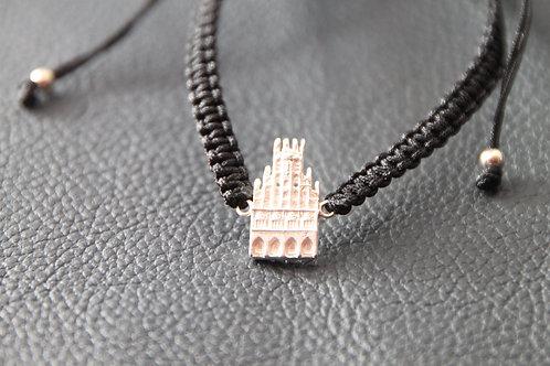 Münster-Armband (Motiv Rathaus-925er Sterling-Silber) Band in schwarz