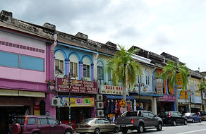 Colourful shop houses in rural Malaysia