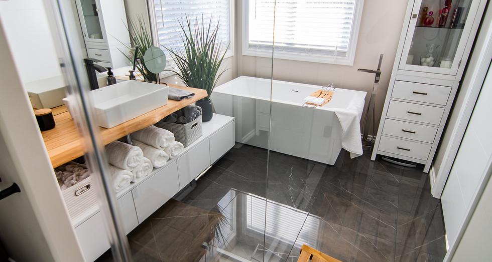 large format floor tile installation, mosaic tile floor and niche