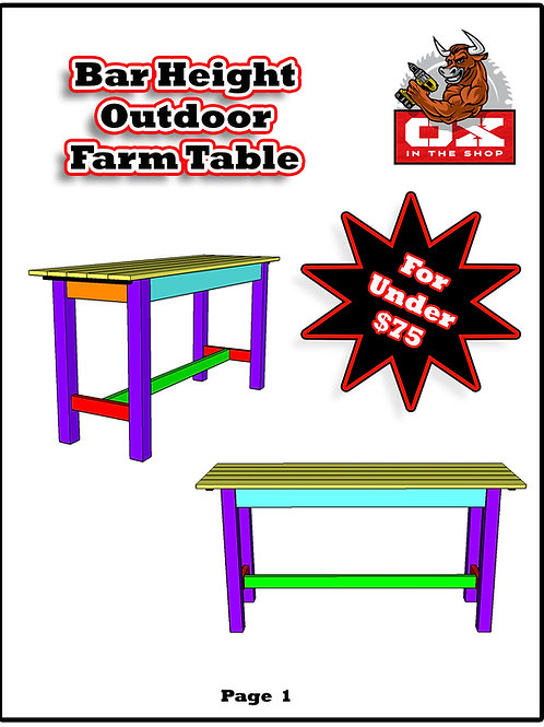 Outdoor Bar Height Farm Table