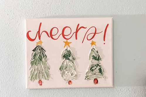 """cheers!"" christmas canvas 8x 10"""