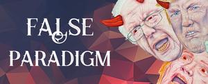 False paradigm header design featuring Trump, Hillary, and Sanders.
