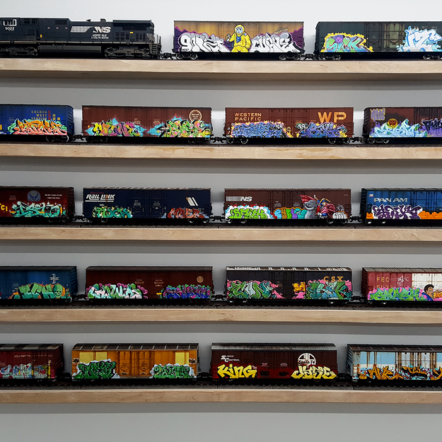 Tim Conlon G scale Trains at the Beyond the Streets Graffiti Exhibition Los Angeles 2018