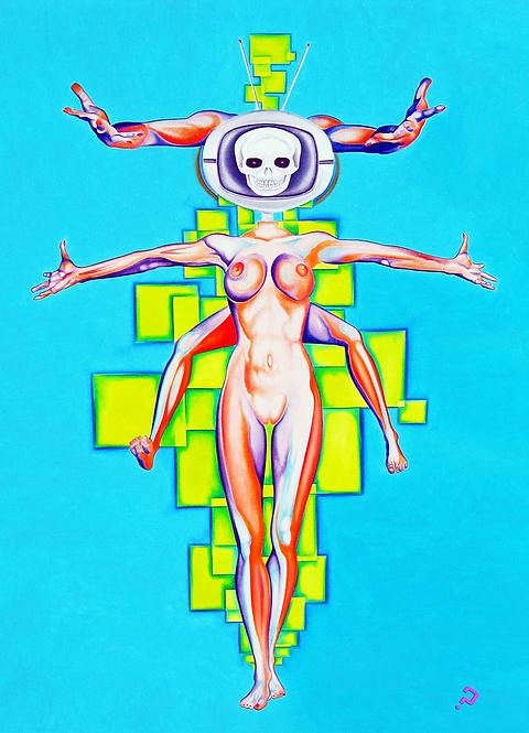 TV Head Oil Painting