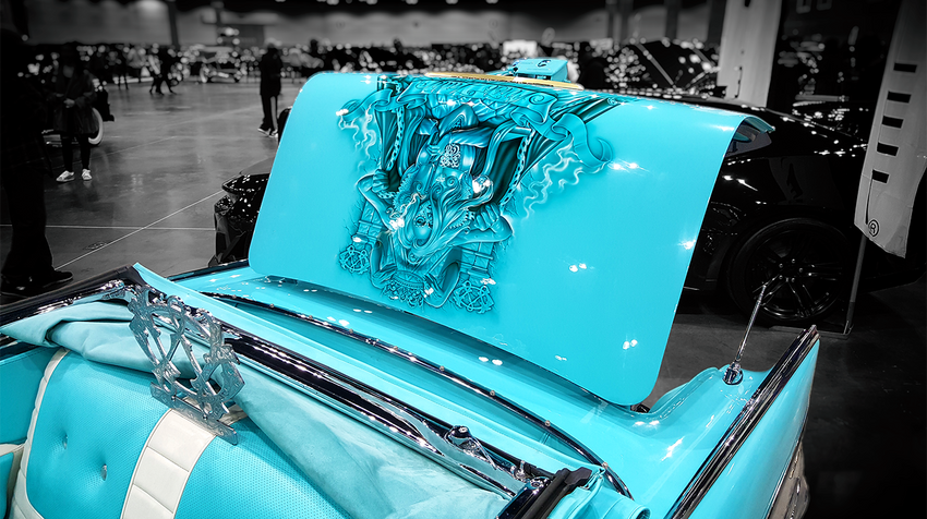 Classic Airbrushed Chevy Lowrider Art with Adobe Post-Production