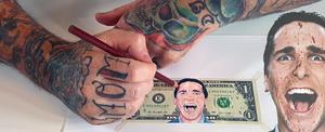 American Psycho drawing on US dollar bill.