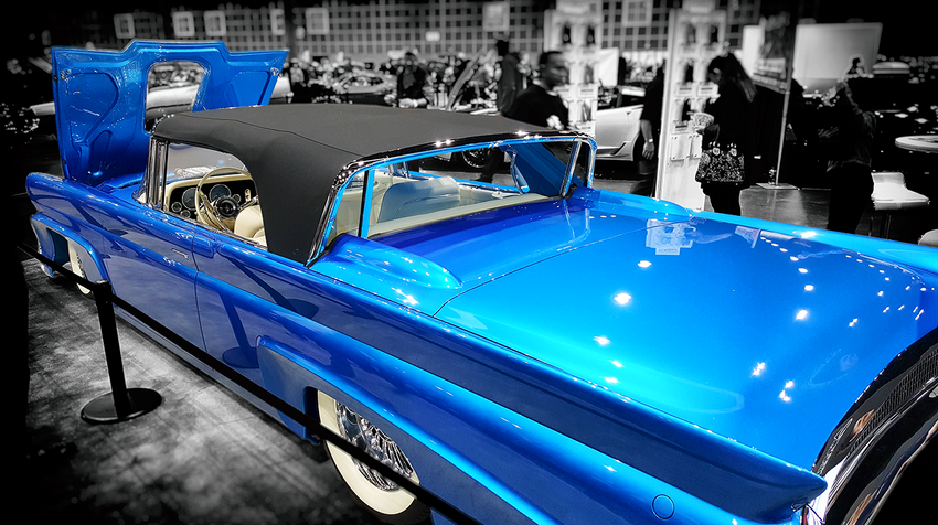 Classic Blue Lowrider Demonstrator Hood with Adobe Post-Production