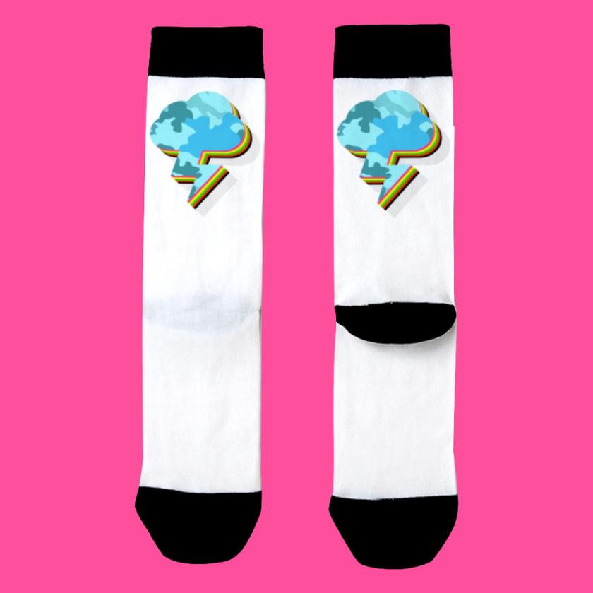 🌩️ Lightning Strikes Back Socks White