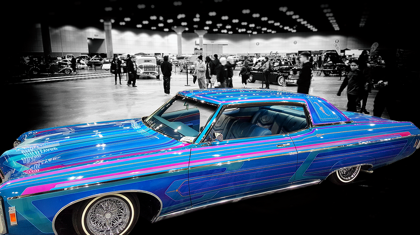 Classic Blue Pinstriped Lowrider with Adobe post-Production
