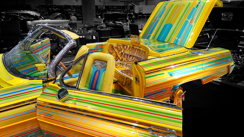 Classic Pinstriped Imperials Lowrider with Adobe Post-Production