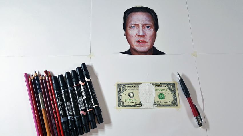 Christopher Walken line drawing.