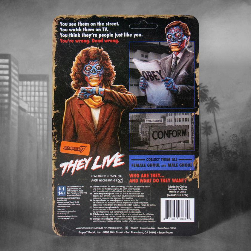 Super 7 They Live ReAction Figure Back Box Art