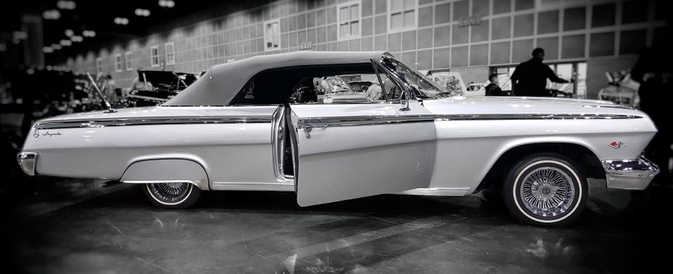 Original photograph of classic silver Impala Lowrider