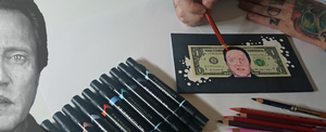Original Christopher Walken drawing on US dollar bill.