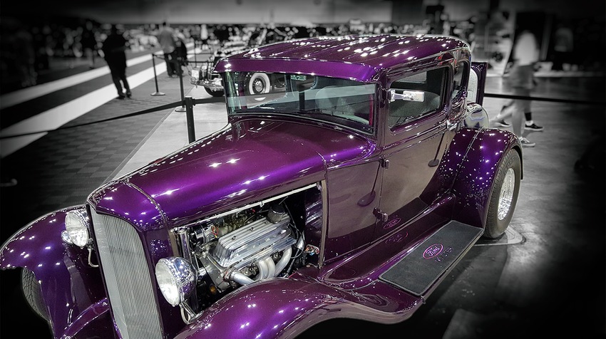 Classic Purple Ford with Adobe Post-Production
