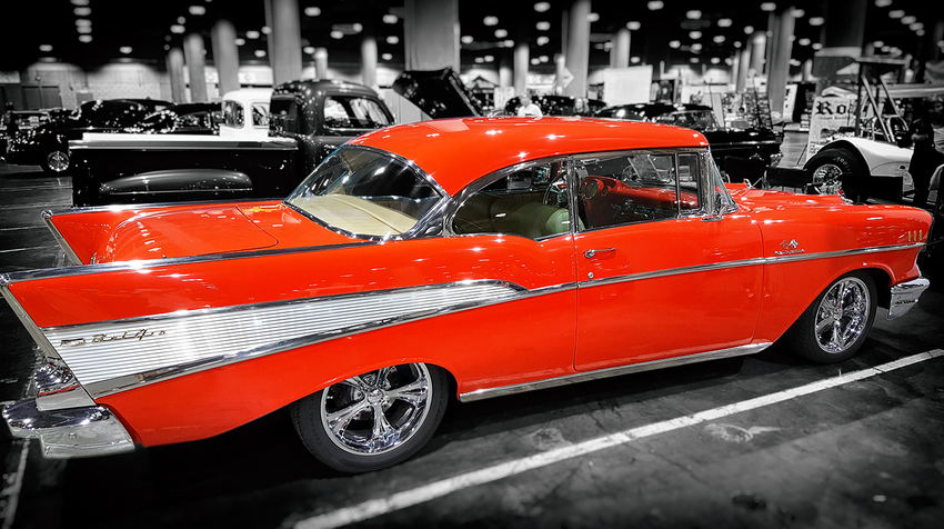 Classic Red Chevy Bel Air with Adobe Post-Production