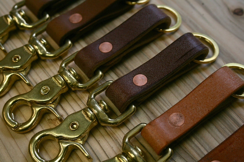 Leather Key fob with snap buckle