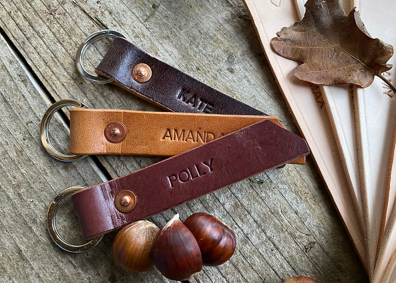Leather Key fob with brass split ring