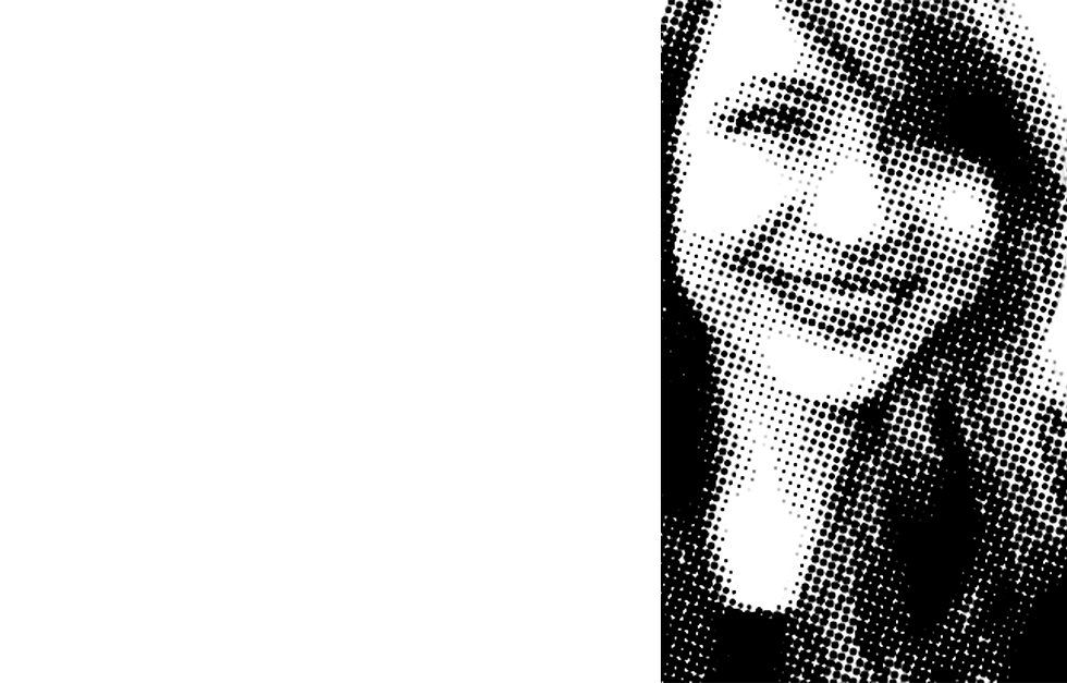 Black & white smiling face of female designer, Leanna Vincent.