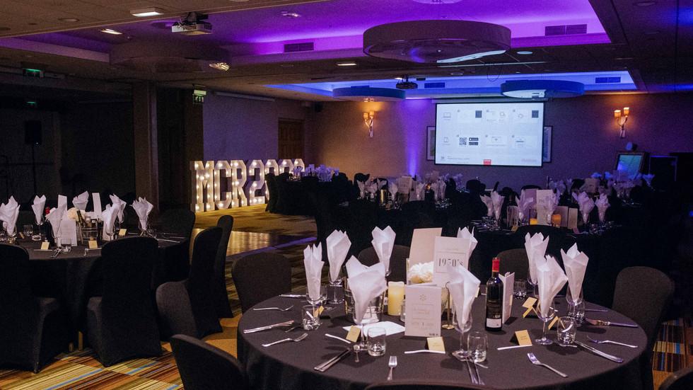 Centenary Ball dinner hall set up