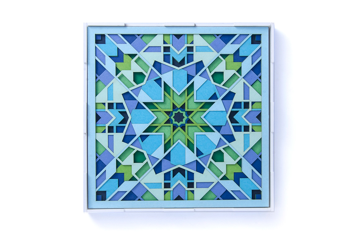 7.Paper art titled 'Frost' with soothing shades of blue