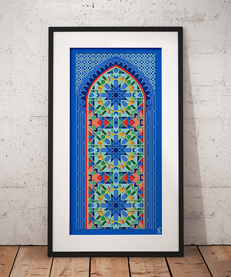 Kaleidoscopic Wall Print in black frame