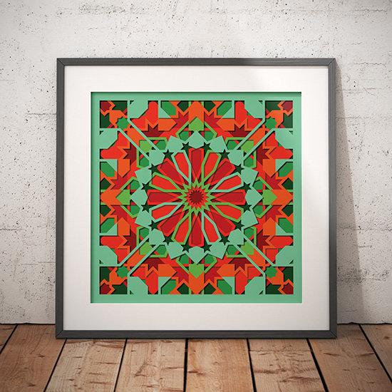 Islamic geometric pattern wall print