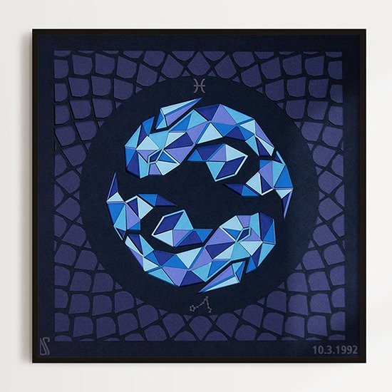 Sunlit Pisces paper cut wall art