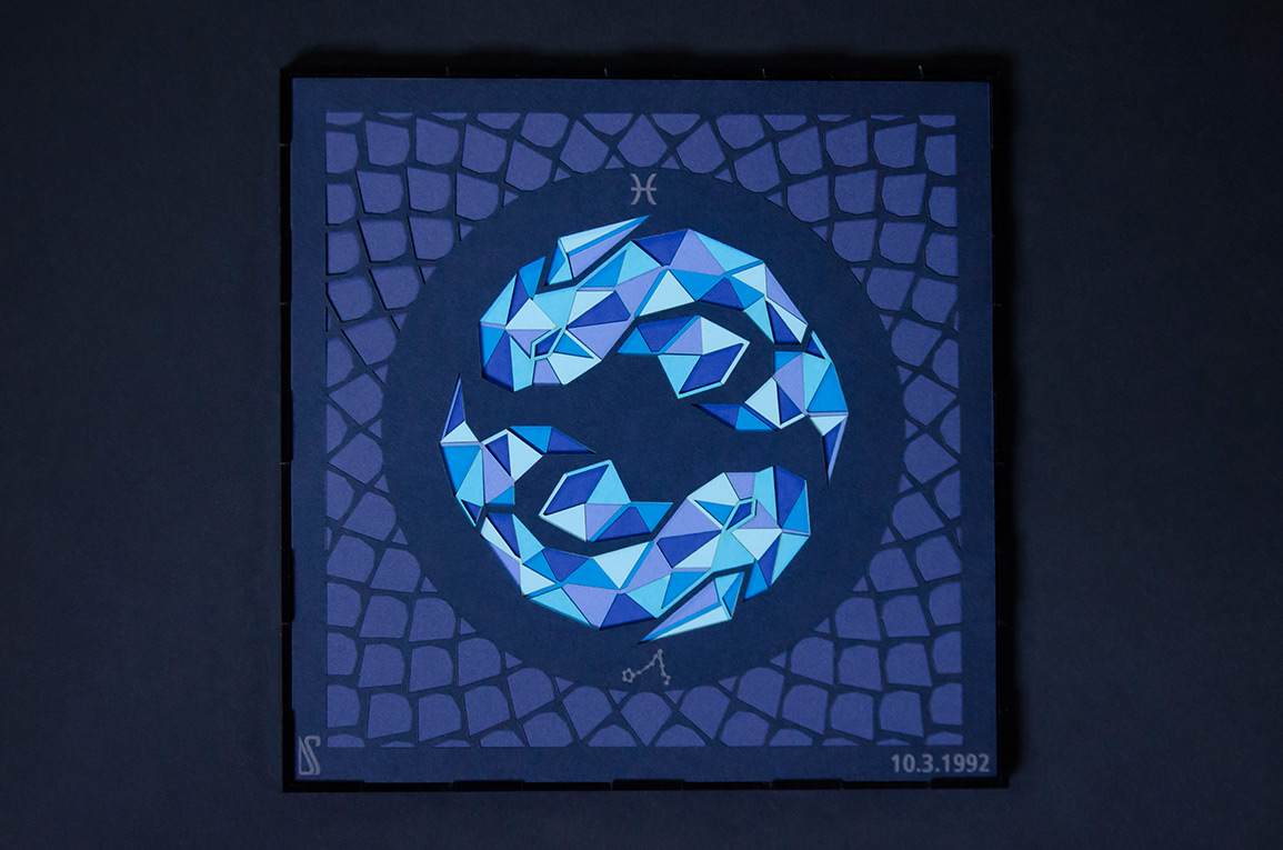 5.Paper Illustration in shades of blue of the water zodiac Pisces