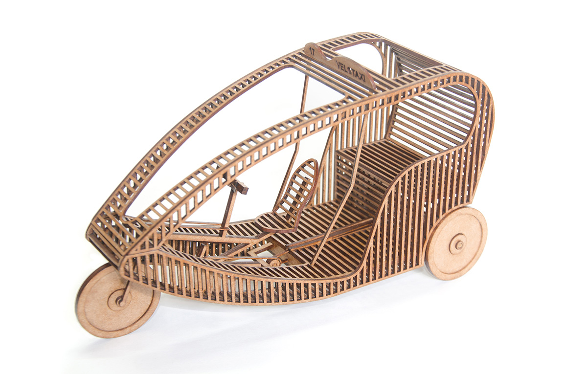 14.European Velotaxi wooden sculpture made to the scale of 1:10