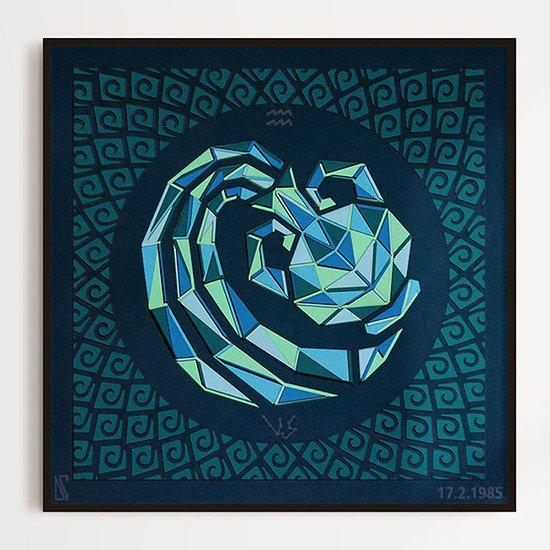 Bright  sunlit Aquarius zodiac paper cut wall art