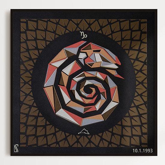 'CAPRICORN' Zodiac Multi Layered 3D Paper Art