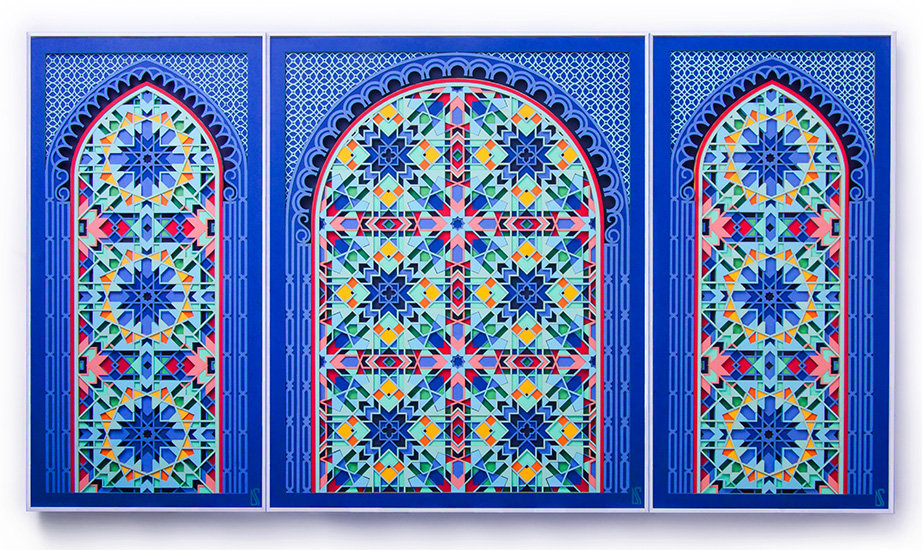 3 piece wall art based on Arabic geometry and Moroccan wall art