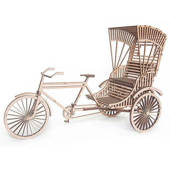 Indian Cycle Rickshaw Wooden 3D Puzzle by Scaled Dimensions